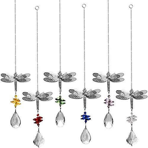 Fransande Set von 6 Libellen Kristall Sonnenfänger Prismen Perlen hängende Kristall für Prismen Sonnenfänger Garten Hochzeit Dekor Regenbogen Maker Spiegel