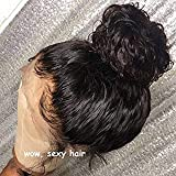 Wowsexy Hair Lace Front Human Hair Wig Curly with Pre-plucked Hairline Brazilian Virgin Hair Lace Front Wigs with Baby Hair for African American Women(10 inch, Lace Front Wig)