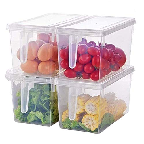 Taylor & Brown Set of 4 Pack, Plastic Storage Containers Square Handle Food Storage Organizer Boxes with Lids for Refrigerator Fridge Freezer Cabinet Bins