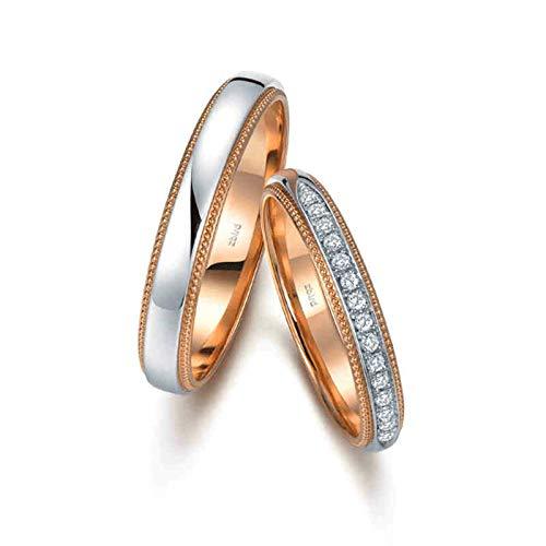 Bishilin Anillo de Compromiso 18K Oro Rosa Oro Blanco Mujer Talla 9,5 & Hombre Talla 27 Pulido Bicolor de Dos Capas con Diamante Blanco Diamante Anillo de Boda de Aniversario Plata Oro Rosa