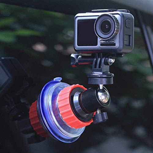 Linghuang Ventosa per GoPro Hero 5/6/7 DJI OSMO Action Camera Mount Parabrezza Videocamera Veicoli Supporto con Testa a Sfera Rotazione a 360 Gradi per GoPro Accessori
