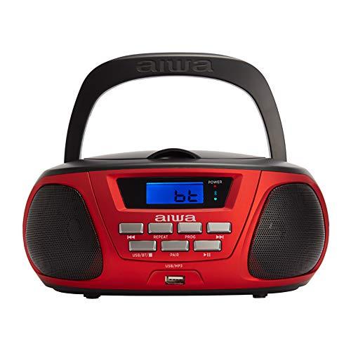Aiwa BBTU-300RD CD-Radio Rot-Schwarz USB Bluetooth AUX-IN-Eingang