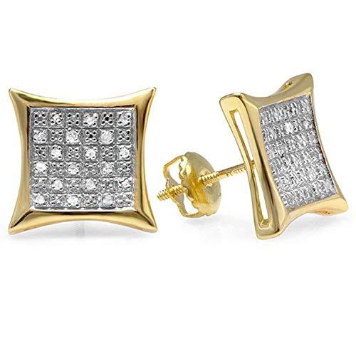 Dazzlingrock Collection Aretes de plata de ley bañados en oro amarillo de 18 quilates con diamantes redondos para hombre de 0,27 quilates (1/4 CT, Diamante, plata de ley., diamante,