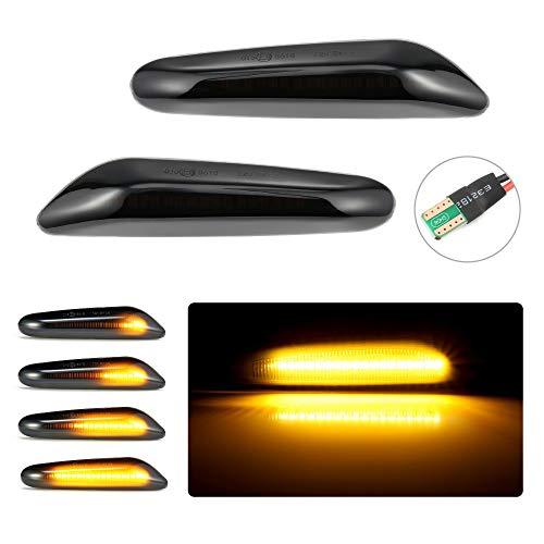 1 Paio di Fumo Nero Ambra LED Indicatore di Direzione Laterale Dinamico Indicatore di Direzione Lampeggiante Errore Decodifica Luce per E90 E91 E92 E93 E60 E87 E82-1: 1 Misura Originale
