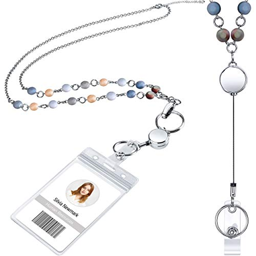 Retractable Badge Reel Lanyard with ID Holder for Women, Fashion Beaded Lanyard Stainless Steel Chain Necklace with Clear Waterproof Badge Card Holder