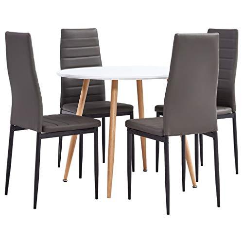 Goliraya Juego de Comedor 5 Piezas Cuero sintetico Gris,Conjunto de Mesa y 4 sillas de Comedor | Alto Grado de Confort | Tablero de la Mesa Robusto