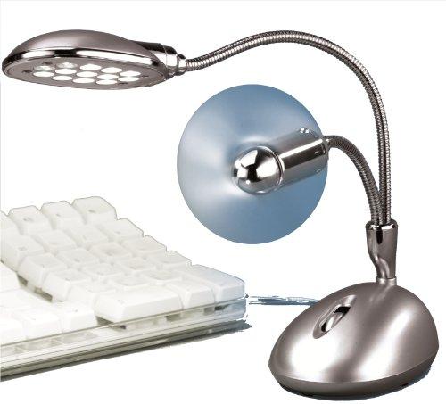 Beco USB-LED-lamp met ventilator 13 LED's met standaard laag energieverbruik, flexibel instelbare zwanenhals, compatibel met PC's notebooks en PDA's voor alle USB-stopcontacten, kleur: zilver