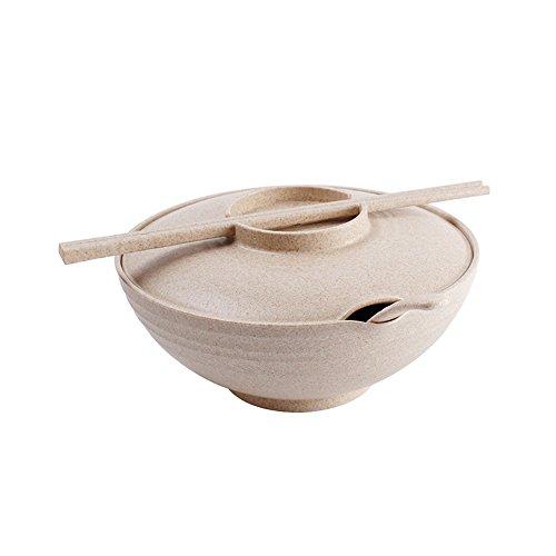 Suppyfly Steengoed Soep Noodle Bowls Met Handvat Soep Bowl Tarwe Strokom Salade Instant Noodles Grote Soepkom Huishoudelijke Servies met Deksel eetstokjes Lepel