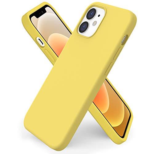 ORNARTO kompatibel mit iPhone 12 Mini 5,4 Silikon Hülle, Hülle Ultra Dünne Voller Schutz Flüssig Silikon Handyhülle Schutz für iPhone 12 Mini(2020) 5,4 Zoll Zitronengelb