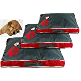 Kennel Dog Bed Paw Waterproof Pet Mat Dog Bed Summer Thicken Cooling Dog Beds Puppy Sleeping Removable Cover Cushion for Small Medium Large Dog 70X45X6Cm Red