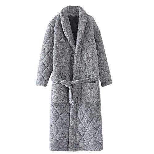 ZLININ Y-longhair Flanell-Herren-Schlafanzug, dickes Korallen-Fleece-Bademantel,...