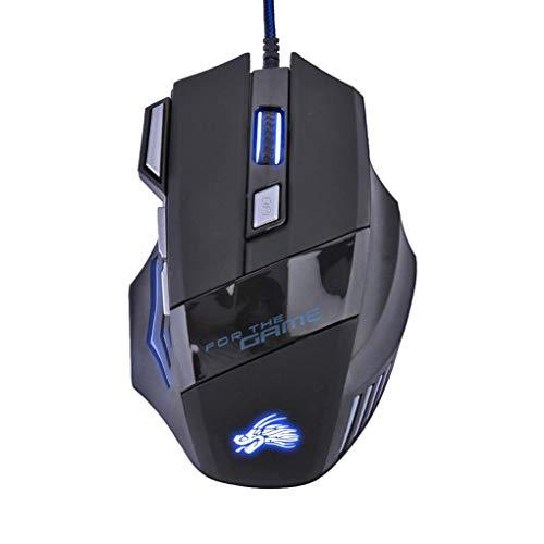beIilan USB 5500DPI ratón óptico del Juego LED Luminoso con Cable 7/6...