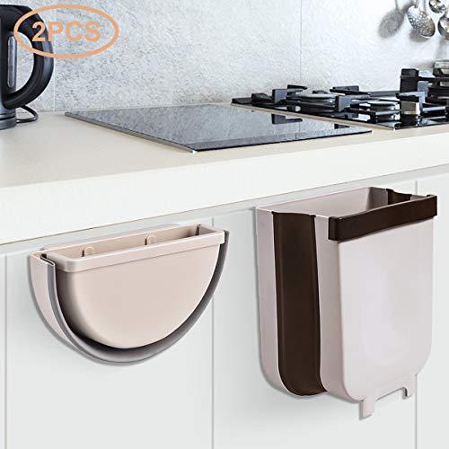 2 Piezas Cubos de Basura Plegable Colgante para Cocina Coche Oficina Baño,9L y 5L (Marrón-2 Pieza)