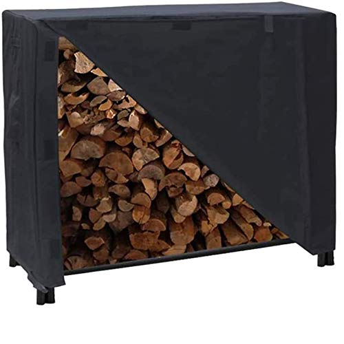 Iptienda Firewood Rack Cover, 4 Feet Waterproof Log Rack Cover, Heavy Duty 600D Outdoor Patio Furniture Protection Cover for Firewood& Wood Storage Rack 48' x 25' x 43' (Black)