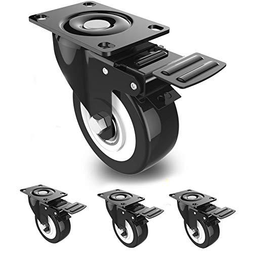 DOUYAO Ruedas para muebles,ruedas muebles,ruedas para palets,4 ruedas giratorias con función de frenado, ruedas de goma para muebles
