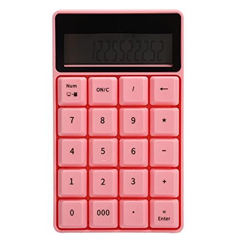 Numerische Tastatur, 2,4 G Drahtloser Digitaler Tastatur-Rechner mit Bildschirm für Home-Office-Geschäft, Plug-Play-Rechner mit 20 Tasten, Integriertes Entwässerungsdesign(Rosa)