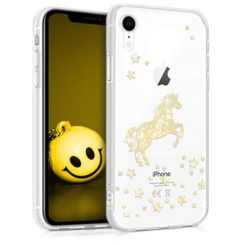 kwmobile Apple iPhone XR Hülle - Handyhülle für Apple iPhone XR - Handy Case in Einhorn Design Rosegold Transparent