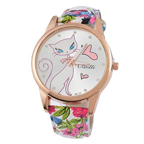 Reloj de pulsera de cuarzo para mujer con diseño de flor de gato