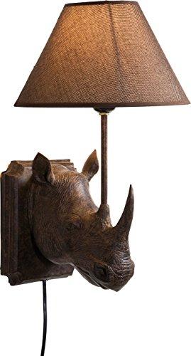 Kare Design Wandleuchte Rhino, rustikale Tierkopf Wanddekoration für den Innenbereich, Kolonialstil, Braun (H/B/T) 39,5x26,5x24,5cm