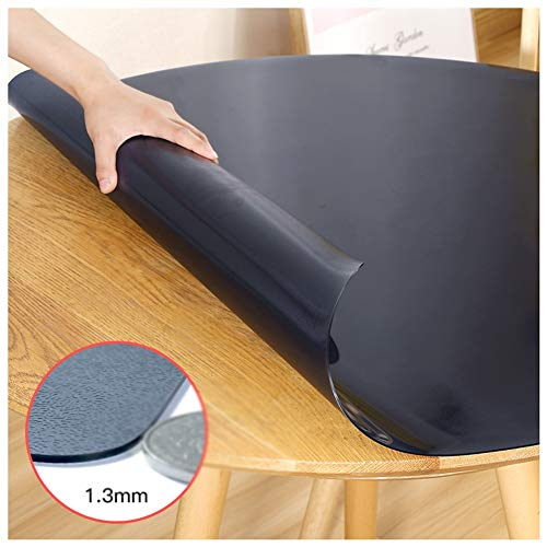 GR5AS Tischdeckenschutz, Tischunterlage, runde Form, ölfest, wasserdicht, schwarz, matt, Couchtischunterlage, 4 Stärken, 11 Größen, plastik, Schwarz, 140 cm