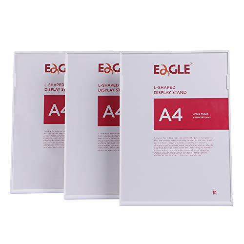 Eagle Tischaufsteller schräg, für A4, PS+PMMA, Weiß, 3er-Pack