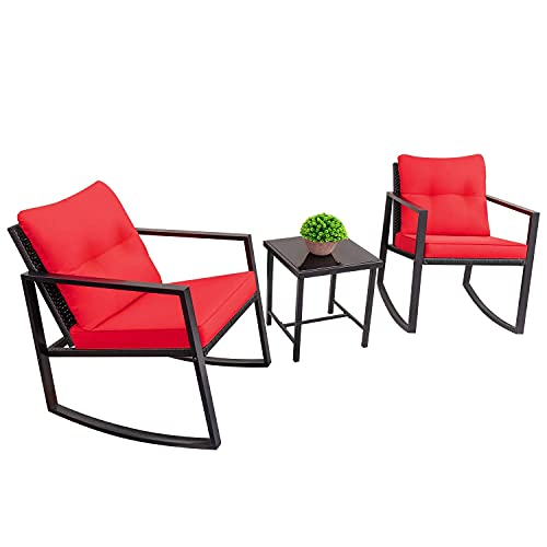 Devoko 3 Piece Rocking Dining Set Wicker Patio Outdoor Furniture Porch Chairs Conversation Sets with Glass Coffee Table (Red)