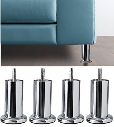 IPEA Juego de 4 Patas para Muebles y sofás Modelo Acquamarina con Base – Juego de 4 Patas de Hierro – Patas de diseño Minimalista para sillones y armarios. – Color Cromado – Altura 100 mm