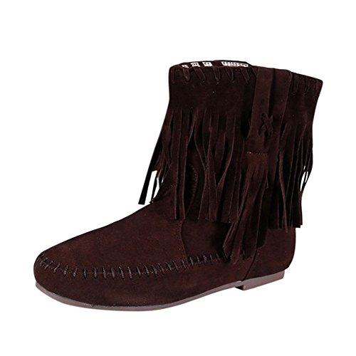 Frestepvie Frestepvie Damen Boots Quasten Flach Mokassins Stiefel Boho Stil Kurz Winterboots