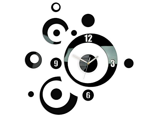 Modern Clock Planet Black wandklok, acryl, zwart, 60 x 60 cm