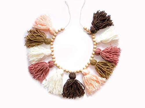 Decocove Tassel Garland - Boho Tassel Garland with Wood Beads - Wall Decor for Dorm, Girls Room and Nursery Room (36 inch) - Blush and Terra Cotta