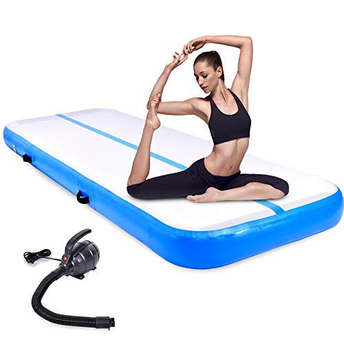 Esterilla inflable para gimnasia de aire con bomba de aire eléctrica para el hogar (azul, 100 x 300 x 20 cm)