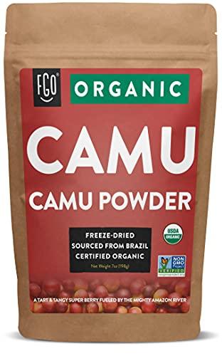 Organic Freeze-Dried Camu Powder | 7oz Resealable Kraft Bag | 100% Raw From Brazil | by FGO