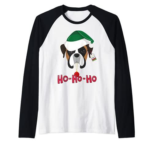 Boxer Santa Camiseta Navidad niños regalos de Navidad Camiseta Manga Raglan