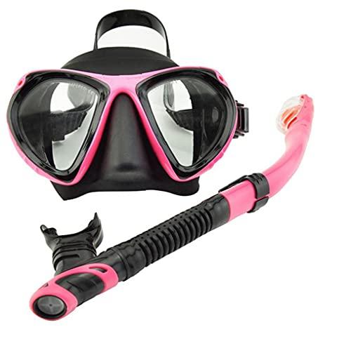 Conjunto de buceo snorkel cara cubierta en seco del tubo respirador de pieza facial de cara visera con tubo de respiración para el hombre mujer de mediana Rosa 2 piezas