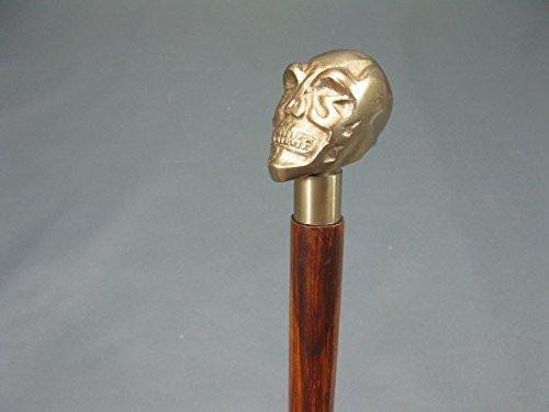 Skull Tête de Mort bois Canne Canne Bâton de marche avec poignée laiton 91 cm Walking Clé M 114