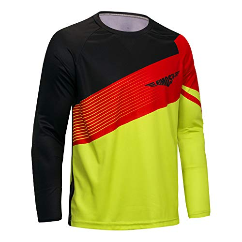 Men's Cycling Jersey Top MTB Cycle Long Sleeve Spring Downhill Mountain Bike Shirt Black Yellow Size L