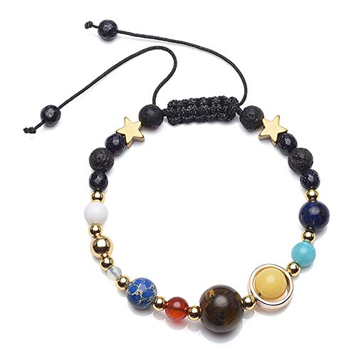 Jovivi Handmade Solar System Natural Lava Rock Beads Diffuser Bracelet Universe Galaxy The Nine Planets Guardian Star Macrame Adjustable Beaded Chakra Bracelet