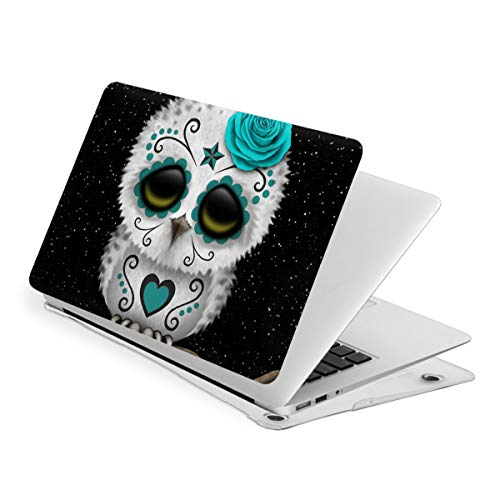 Cute Teal Day of The Dead Sugar Skull Owl Stars MacBook Pro 13 Inch Case 2016-2019Release A2159 A1989 A1706 A1708, Plastic Hard Shell Case for Apple Mac Pro 13 with/Without Touch Bar