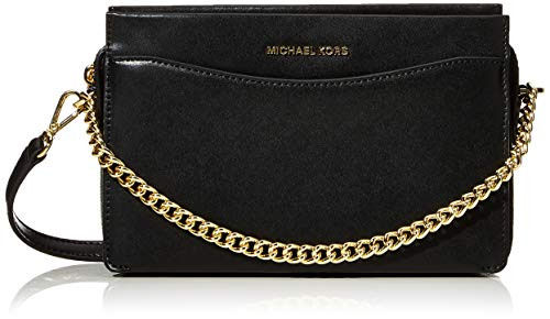 Michael Kors Voyager Crossgrain Leather Tote - Borse Donna, Nero (Black), 15.8x27.9x37.4 cm (B x H T)