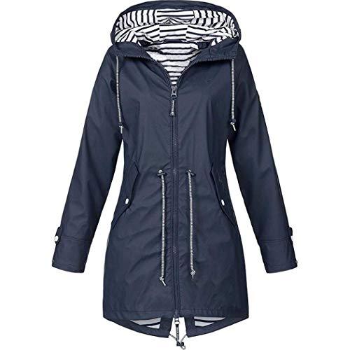 EUCoo - Chaqueta de transición impermeable para mujer, con capucha, impermeable, para exteriores, cortavientos, para otoño e invierno, talla S-5XL gris oscuro XXL