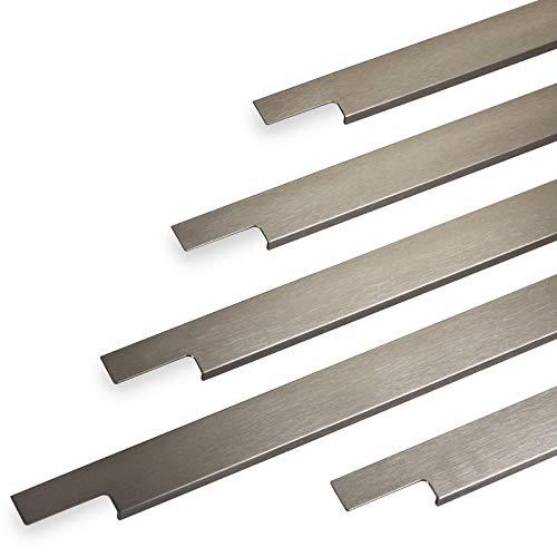 Griffleiste SLIM 395 mm Edelstahloptik gebürstet (Harpunenenstegmontage) Griffprofil Schubladengriff Schrankgriff von SO-TECH®