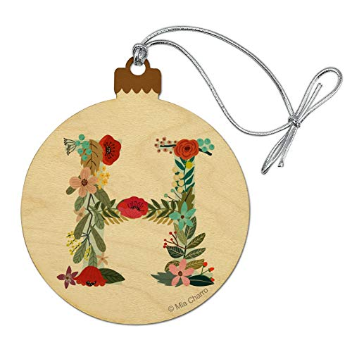 GRAPHICS & MORE Letter H Floral Monogram Initial Wood Christmas Tree Holiday Ornament
