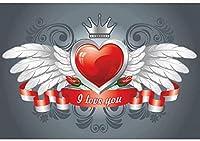 新しい2.1x1.5mVinylバレンタインデーの背景の翼の羽の背景写真パーティー愛好家のための赤いハートクラウンバナーの背景