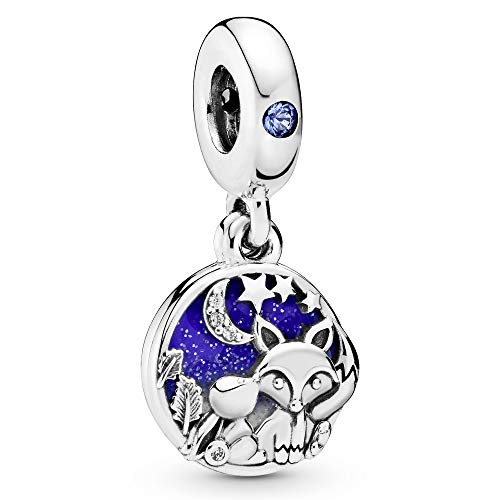 Pandora Jewelry Fox and Rabbit Dangle Cubic Zirconia Charm in Sterling Silver