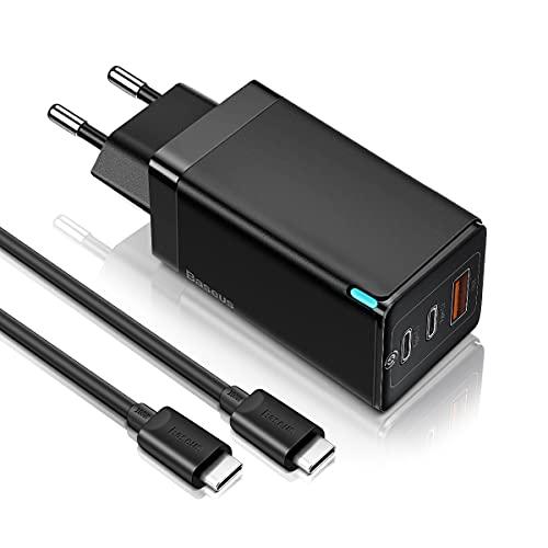 Baseus Cargador USB C 65W GAN Tech, Cargador Portatil Movil Universal con Power Delivery USB Multiple PD Carga rapida para iPhone 12 Pro, MacBook,iPad Pro,Samsung,Pixel,Huawei P20,USB-C Laptop(Negro)
