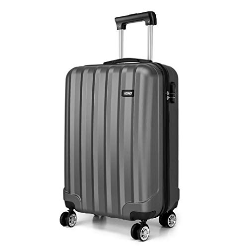 Kono Lightweight Cabin Suitcase 55x35x20cm Hard Shell ABS Luggage with 4 Wheels Carry On Hand Travel Suitcases (Grey)