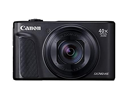 Canon PowerShot SX740 HS - Cámara compacta de 20.3 MP (40x Zoom óptico, 4K UHD, DIGIC 8, 5 Ejes, LCD desplegable, 10 fps, Bluetooth, WiFi) Negro