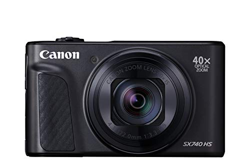 Canon PowerShot SX740 HS Digitalkamera (20,3 MP, 40-fach optischer Zoom, 7,5cm (3 Zoll) Display, DIGIC 8, 4K Ultra HD, HDMI, WLAN, Bluetooth, Blendenautomatik, Zeitautomatik), schwarz
