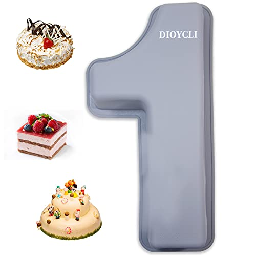 3D Large Number Cake Pans for Baking Silicone Number Cake Mould Letter Ectangle Novel Cake Tins for Birthday Wedding Anniversary 10 inch Number of 1