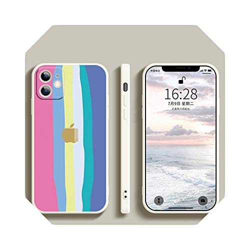 Carcasa de silicona para iPhone 6, 6S, 7, 8, SE2, 11, 12, para iPhone 6, 6S, 7, 8 Plus, X, XS, XR, 11Pro y 12Pro Max Soft Case-Six blanca para iPhone XR